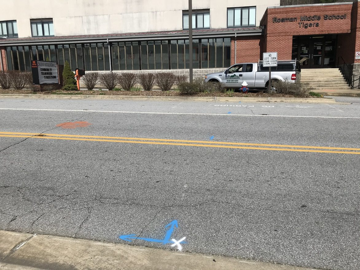 Locating water supply (blue paint) at Middle School